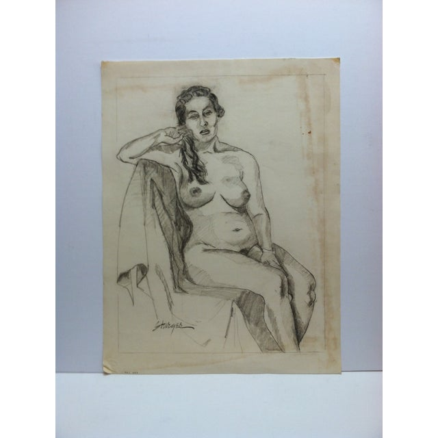"""1950s 1953 Vintage """"Playing With Hair - Nude"""" Tom Sturges Jr. Original Drawing For Sale - Image 5 of 5"""