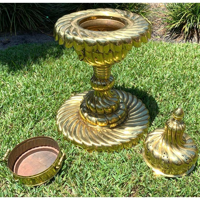 Metal Large Turkish Spiral Brass Brazier For Sale - Image 7 of 12