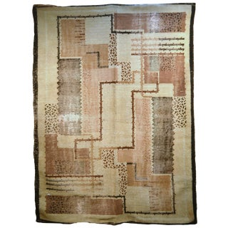 1930s, Handmade Antique French Art Deco Rug 5.2' X 7.9' For Sale