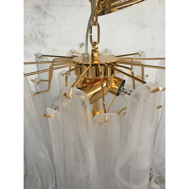 """Metal Mazzega Style """"Petali"""" Selle Murano Glass Chandelier For Sale - Image 7 of 10"""