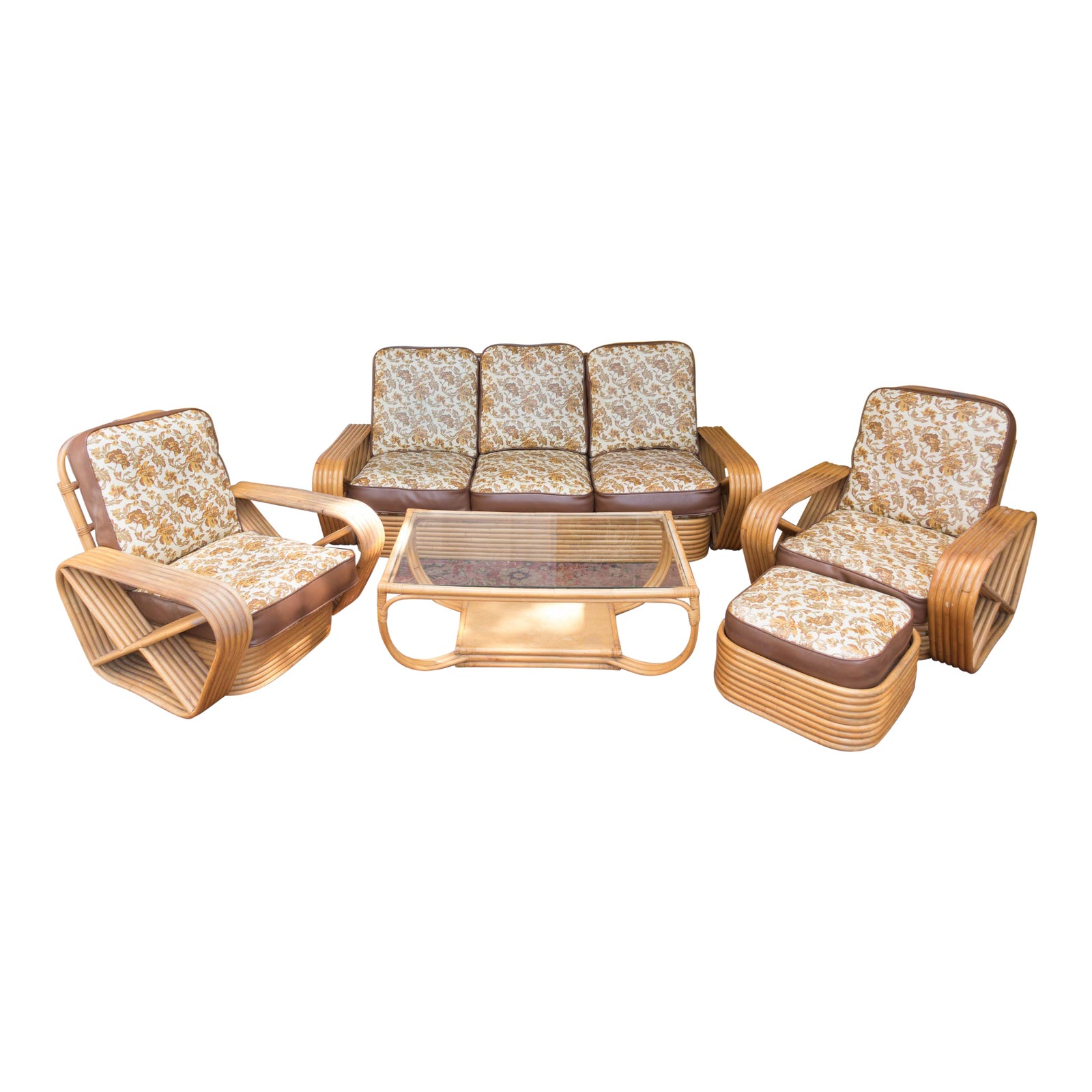 Paul Frankl Pretzel Rattan Living Room Set | Chairish