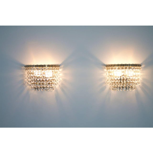 Bakalowits & Sohne One of Four Wall Sconces by Bakalowits Austria Crystal Glass 1960s For Sale - Image 4 of 5