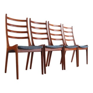 Sculptural Ladder Back Dining Chairs Attributed to Kai Kristiansen For Sale