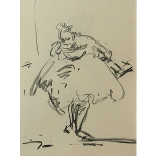 "Jose Trujillo""Ballerina Ballet"" Modern Abstract Signed Original Charcoal Drawing For Sale"
