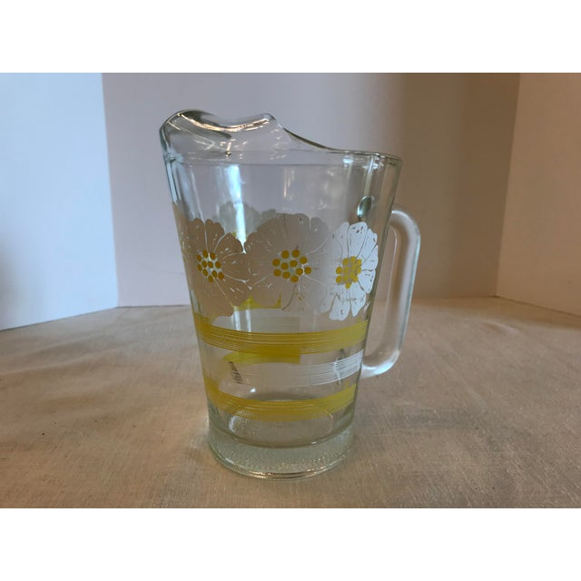 Mid-Century Modern Mid Century Modern White and Yellow Sunflower Glass Pitcher For Sale - Image 3 of 7