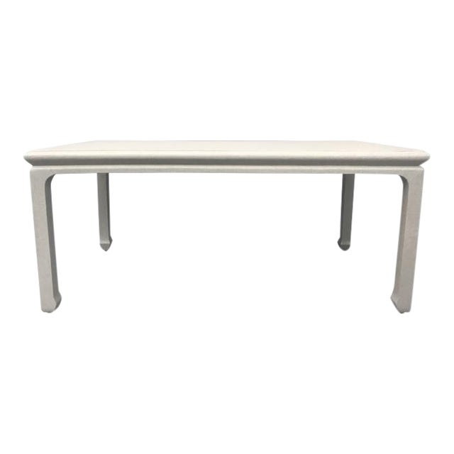 Chinese-Style Taupe Lacquered Grasscloth Coffee Table For Sale