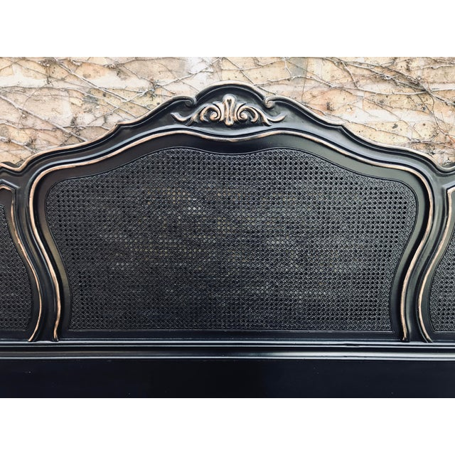 french provincial headboard reborn in semi-gloss black with a smidgeon of european gold highlights