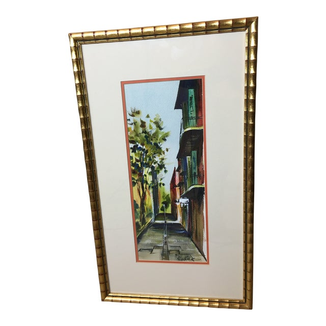 "1960s ""New Orleans"" Watercolor Painting by Robert M.Rucker For Sale"