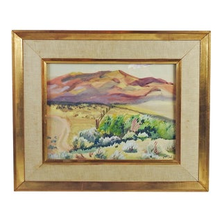 Mountain Ranch Landscape Watercolor Painting For Sale