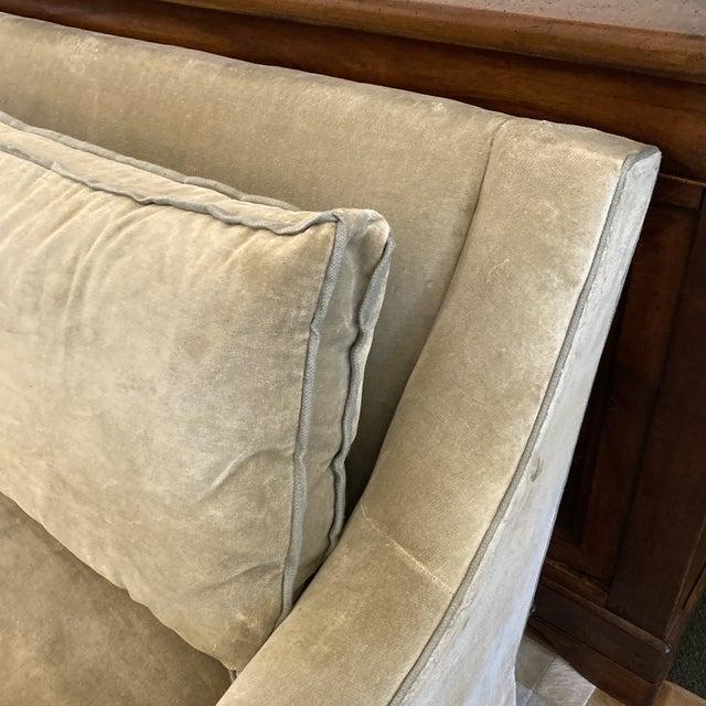 Baker Furniture Company Baker Furniture Custom Velvet + Linen Trimmed Loveseat For Sale - Image 4 of 12