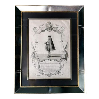 Antique Print With Mirrors & Gold Frame For Sale
