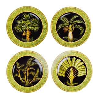 Vintage Andrea by Sadek Jungle Safari Silver Palm Dinner Plate - Set of 4 For Sale