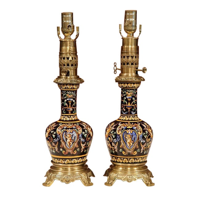 French Hand-Painted Porcelain & Bronze Oil Lamps - A Pair For Sale