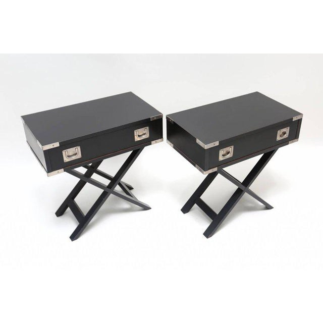 Mid-Century Modern Director Style Side Tables For Sale - Image 3 of 7
