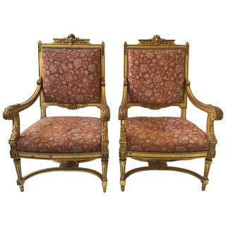 Pair of 1940s French Style Louis XVI Gilt Armchairs For Sale