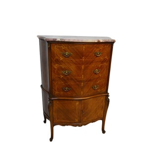 1950s French Style Satinwood Inlaid Chest of Drawers