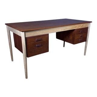 1960s Danish Modern Børge Mogensen Teak and Beech Tanker Desk For Sale