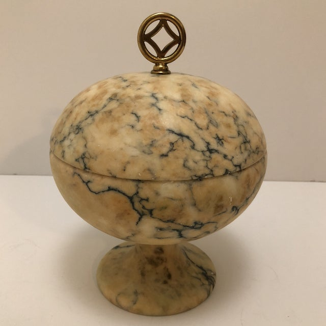 Antique Italian Marble Lidded Compote For Sale - Image 10 of 11