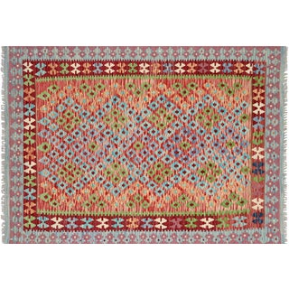 "Nalbandian - Contemporary Afghan Maimana Kilim - 4'1"" X 5'8"" For Sale"