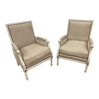 Gilt and Painted Upholstered French Bergeres - a Pair For Sale