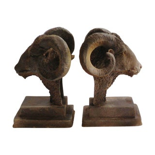 Antique Aged Iron Ram's Head Bookends - A Pair