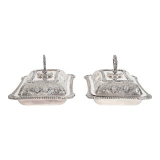 English Silver Plated Tableware Serving Dishes (2 Available) For Sale