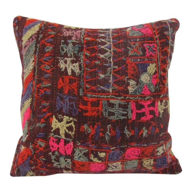 Turkish Handmade Vintage Embroidered Kilim Pillow For Sale