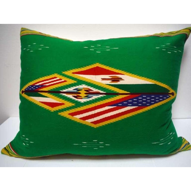 Large Patriotic Mexican Indian Weaving Bolster Pillow For Sale In Los Angeles - Image 6 of 6