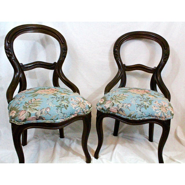 Antique Blue Needlepoint Chairs - A Pair For Sale - Image 10 of 10