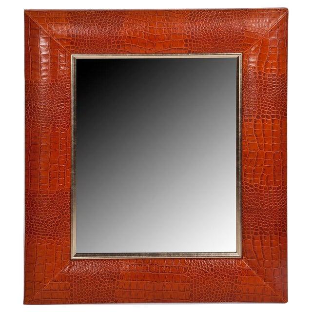 Cognac Classic Crocodile Leather Framed Mirror For Sale