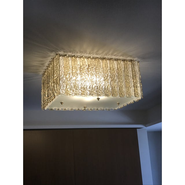 Contemporary Art Deco Style Italian Amber Crystal Murano Glass Flush Chandelier For Sale - Image 9 of 11