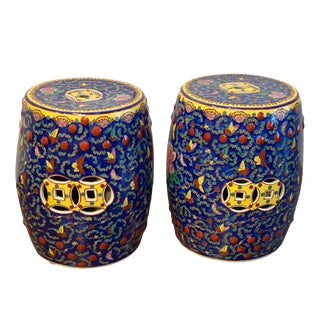 Vintage Chinese Porcelain Garden Stools- A Pair For Sale