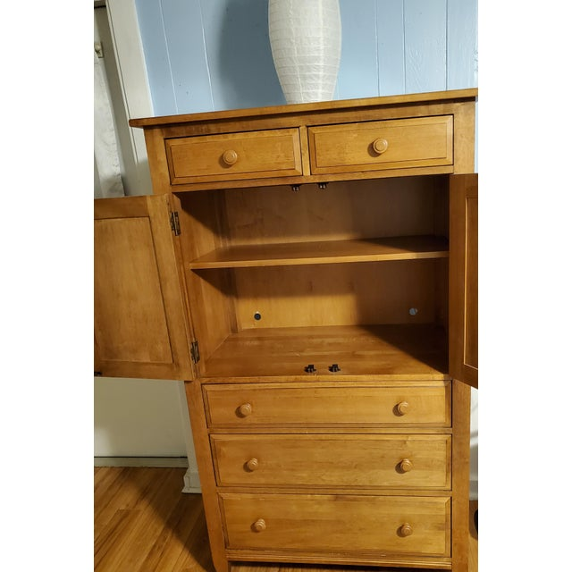 French Country Vintage Ethan Allen Country French Solid Maple Tall Armoire Dresser For Sale - Image 3 of 9
