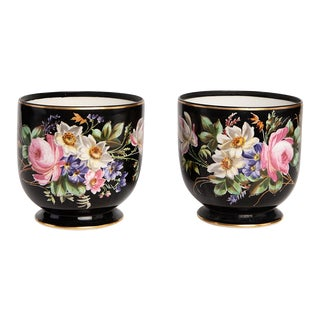 French Napoleon III Porcelaine Cachepots - a Pair For Sale