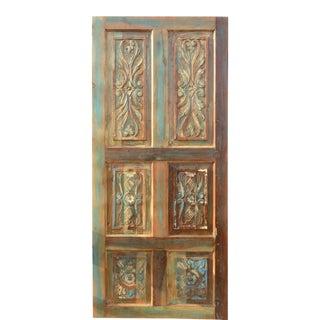 Vintage Distressed Floral Hand Carved Rustic Barn Door For Sale