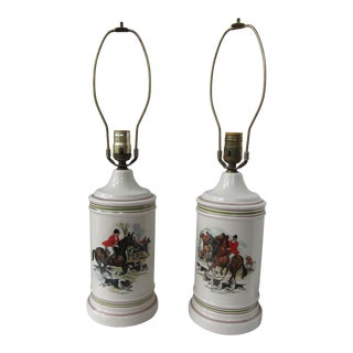 Fox Hunting Horse & Hound Vintage Lamps-2 Pieces For Sale