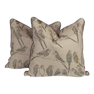 Linen Parakeet Pillows - a Pair For Sale