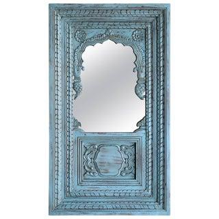 1940s Farm House Ornate Teak Wood Window Wall Mirror For Sale