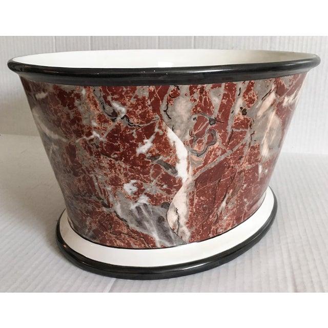 Large Italian Marbleized Ceramic Jardinere Planter - Image 5 of 9