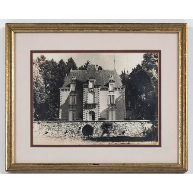 Vintage framed black and white photograph, Le Chateau, France, circa 1950's. A charming image of a chateau in the French...