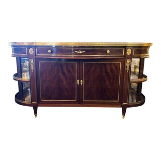 Attributed to Maison Jansen Flame Mahogany Demilune Server Sideboard For Sale