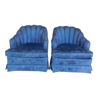 Custom Rolled Tufted Back Velvet Upholstered Club Chairs - a Pair For Sale