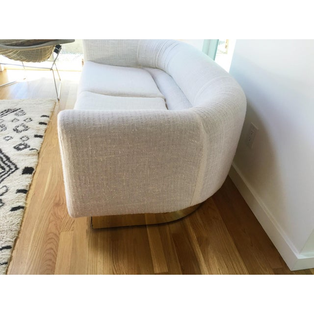 1970s Brass Base & Linen Loveseat - Image 6 of 10