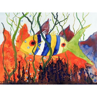 Fancy Fish Watercolor Painting For Sale