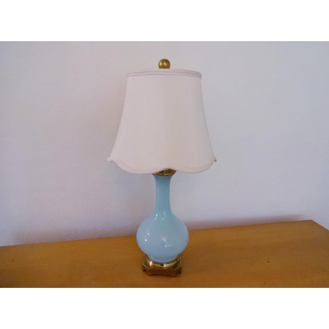 1970s Vintage Paul Hanson Opaline Glass and Brass Lamp For Sale - Image 5 of 8