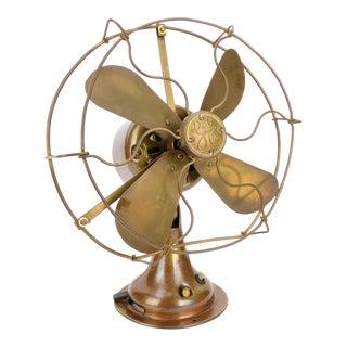 1919 General Electric Brass Desk Fan Rewound Motor For Sale