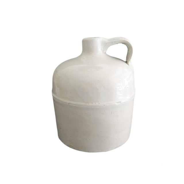 1950s Antique Small White Whiskey Crock Stoneware Jug For Sale - Image 5 of 5