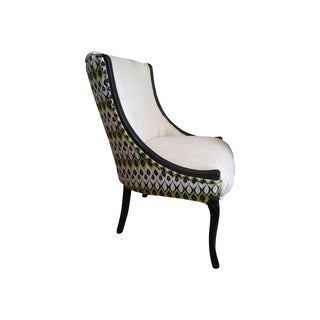 Ivory & Black Accent Chair For Sale