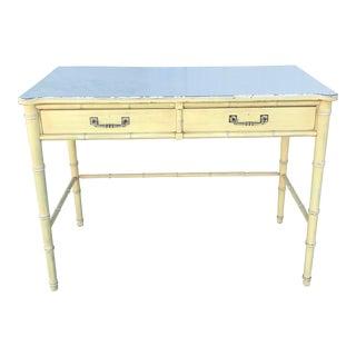 Mid-Century Chinoiserie Rattan Desk
