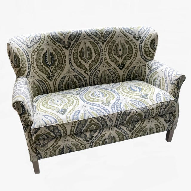 Traditional Lee Industries Upholstered Lotus Print Loveseat For Sale - Image 3 of 3